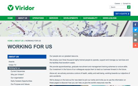 Screenshot of Jobs Page viridor.co.uk - Working for us - captured Sept. 14, 2018