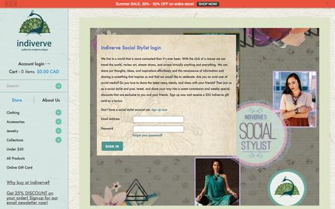 Screenshot of Login Page indiverve.com - Account | Indiverve Retail Company Inc. - captured Oct. 6, 2014