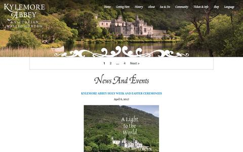 Screenshot of Press Page kylemoreabbey.com - News and Events Archives - Kylemore Abbey - captured April 9, 2017