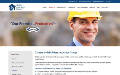 Screenshot of Jobs Page bldrs.com - Careers – Builders Insurance Group - captured Nov. 9, 2018