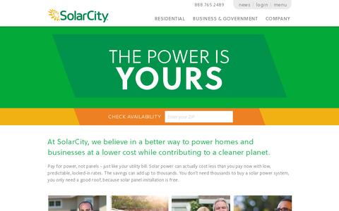 Screenshot of Home Page solarcity.com - Solar Panels, Solar Power Systems & Energy Efficiency | SolarCity - captured July 11, 2014