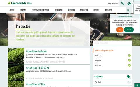 Screenshot of Products Page greenfields.eu - Todos los productos - GreenFields EMEA - captured Oct. 26, 2018