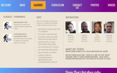 Screenshot of About Page salsaxtremetampa.com - Classes - captured Feb. 3, 2016