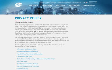 Screenshot of Privacy Page pfizer.com - Privacy Policy | Pfizer: One of the world's premier biopharmaceutical companies - captured Oct. 18, 2017