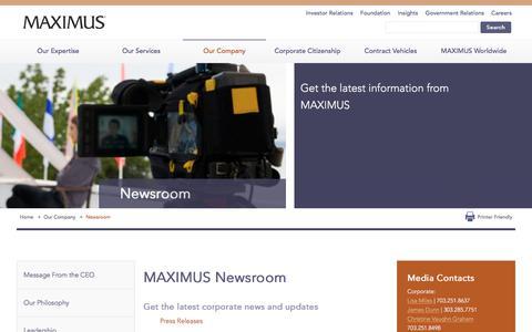 Screenshot of Press Page maximus.com - News & Events | Press Releases | Corporate Announcements - MAXIMUS  | MAXIMUS - captured Jan. 15, 2018