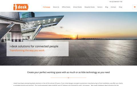 Screenshot of Home Page i-desk.co.uk - Smart desk solutions for connected people | i-desk Solutions - captured Oct. 12, 2018