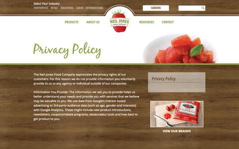 Screenshot of Privacy Page neiljonesfoodcompany.com - Privacy Policy  | Neil Jones Food Company - captured Oct. 18, 2018