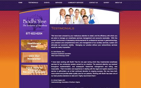 Screenshot of Testimonials Page bodhitreeanesthesia.com - Testimonials - Bodhi Tree Anesthesia - Full-Service Anesthesia Solutions - Accounting, Recruitment, Practice Management, Risk Management, and More - captured Sept. 30, 2014