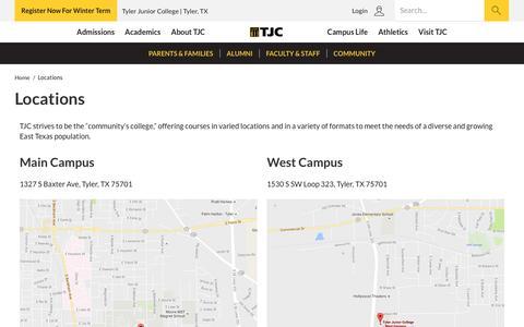 Screenshot of Locations Page tjc.edu - Locations | Tyler Junior College - captured Nov. 30, 2016
