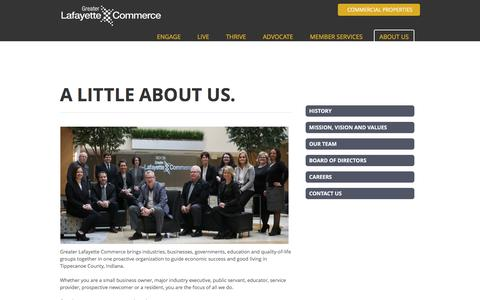 Screenshot of About Page greaterlafayettecommerce.com - ABOUT US - Greater Lafayette Commerce | Lafayette, IN - captured June 23, 2016
