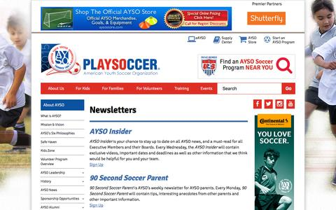 Screenshot of Signup Page ayso.org - Newsletters - captured Oct. 25, 2015