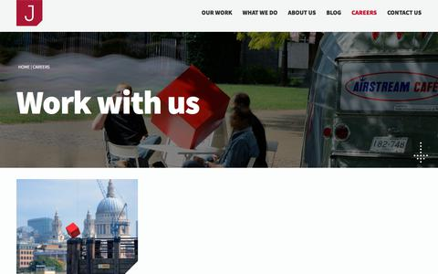 Screenshot of Jobs Page jerram.co.uk - Work with us : Jerram Digital - captured Sept. 20, 2018