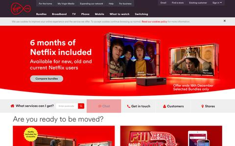 Screenshot of Home Page virginmedia.com - Virgin Media - Fibre Broadband, Digital TV, Mobile & More  | Virgin Media - captured Dec. 9, 2017