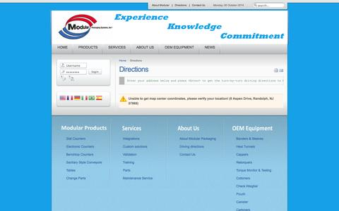 Screenshot of Maps & Directions Page modularpackaging.com - Modular Packaging Systems, Inc. - Directions - captured Oct. 6, 2014