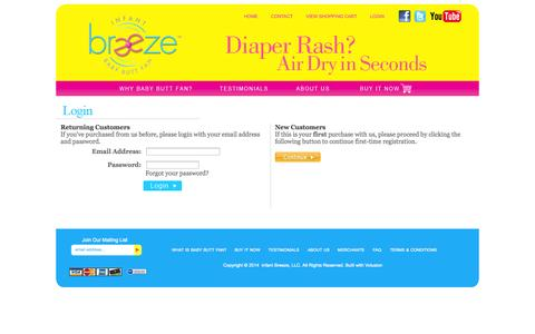 Screenshot of Login Page infantbreeze.com - The Original Baby Butt Fan | Infant Breeze Login - captured Sept. 30, 2014