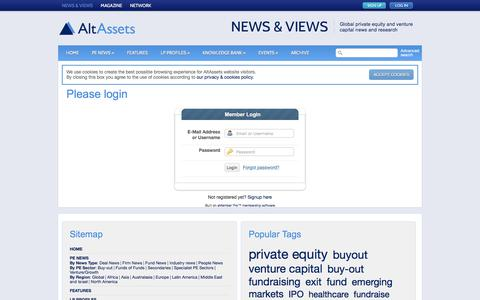 Screenshot of Login Page altassets.net - Please login |  AltAssets Private Equity News - captured Dec. 24, 2015