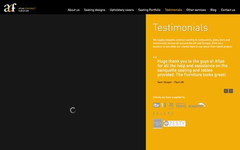 Screenshot of Testimonials Page atlascontractfurniture.com - Testimonials - Atlas Contract Furniture - captured Oct. 4, 2014