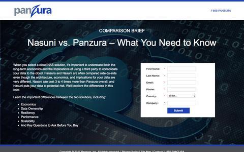 Screenshot of Landing Page panzura.com - Nasuni vs. Panzura – What You Need to Know - captured March 8, 2017