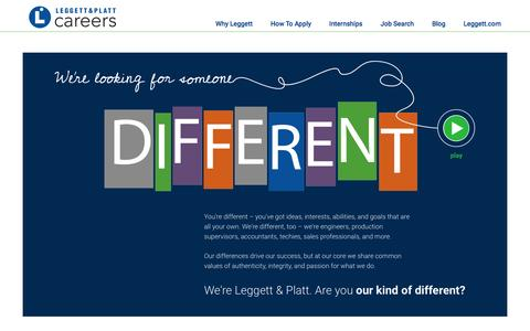 Screenshot of Jobs Page leggett.com - Home - Leggett Careers - captured Aug. 31, 2016