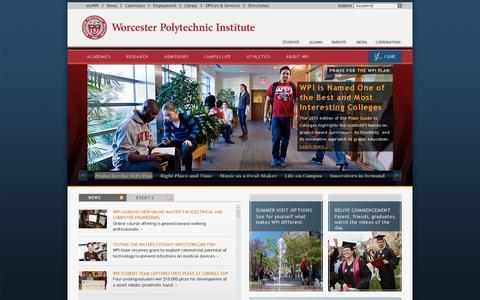 Screenshot of Home Page wpi.edu - Worcester Polytechnic Institute (WPI) - captured July 11, 2014