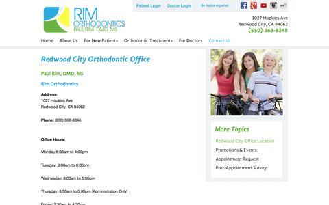 Screenshot of Contact Page Maps & Directions Page rimortho.com - Rim Orthodontics | Redwood City CA Orthodontist - captured Feb. 3, 2016