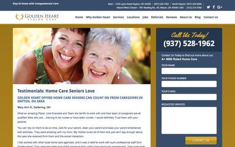 Screenshot of Testimonials Page goldenheartohio.com - Home Care Seniors | Dayton, OH - captured Nov. 28, 2016