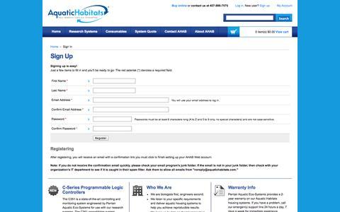 Screenshot of Signup Page aquatichabitats.com - Pentair Aquatic Habitats Research Systems - captured Oct. 29, 2014