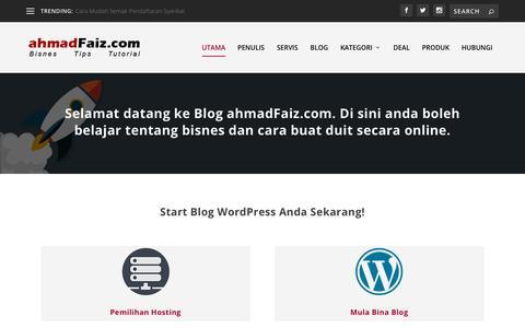 Screenshot of Home Page ahmadfaiz.com - ahmadFaiz.com - Blog Perniagaan Internet Dan Teknologi - captured Sept. 22, 2018