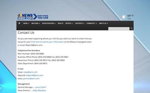 Screenshot of Contact Page wric.com - Contact Us | WRIC - captured June 28, 2017