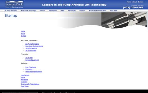 Screenshot of Site Map Page sourcerock.ca - Sitemap - captured Oct. 9, 2014