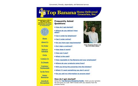 Screenshot of FAQ Page topbananagrocer.org - Frequently Asked Questions (FAQs) | Top Banana Home Delivered Groceries - captured June 22, 2016