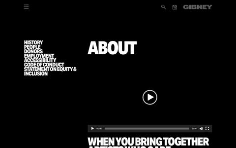 Screenshot of About Page gibneydance.org - About Gibney - Making Space for Dance in New York City - captured July 19, 2018