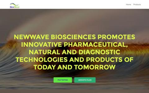 Screenshot of Products Page newwavebio.com - Newwave Biosciences | Innovative pharmaceutical, natural and diagnostic technology - captured Nov. 4, 2014