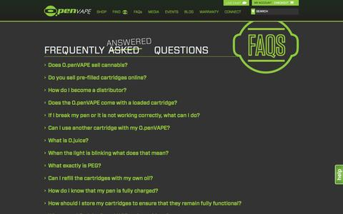 Screenshot of FAQ Page openvape.com - Frequently Asked Questions - O.penVAPE | Open Vape - captured Oct. 27, 2014