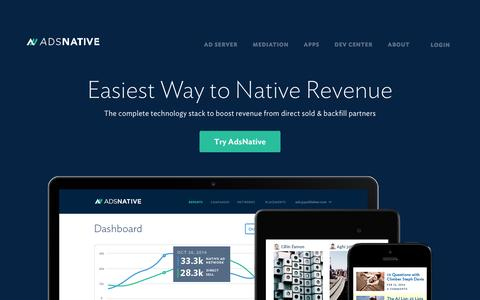 Screenshot of Home Page adsnative.com - The Easiest Way to Native Revenue – AdsNative - Maximize Native Advertising Revenue, Automatically - captured Sept. 13, 2014
