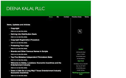 Screenshot of Press Page deenakalai.com - Deena Kalai, PLLC - Entertainment Law - Austin- New York - captured Oct. 5, 2014