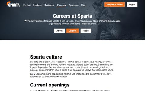 Screenshot of Jobs Page spartasales.com - Careers |      Sparta - Take your sales results to the next level - captured Nov. 20, 2015