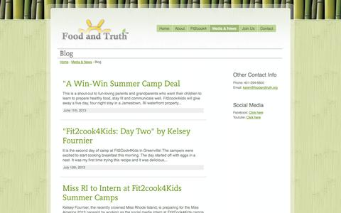 Screenshot of Blog foodandtruth.org - Food and Truth - Creators of Fit2cook4kids - captured Oct. 6, 2014