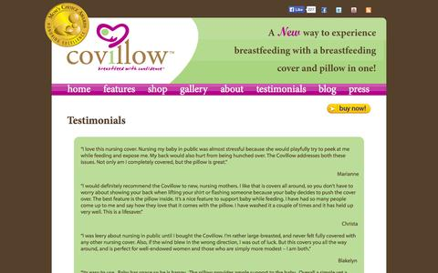 Screenshot of Testimonials Page covillow.com - Testimonials Covillow | Covillow Breastfeeding Pillow and Cover in One - captured Oct. 3, 2014