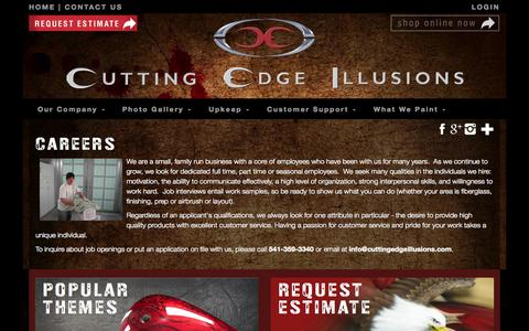 Screenshot of Jobs Page cuttingedgeillusions.com - Careers | Custom | Cutting Edge Illusions - captured Nov. 2, 2014