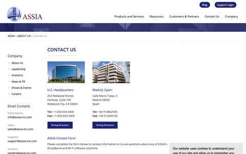 Screenshot of Contact Page assia-inc.com - ASSIA Inc. - Contact Information - captured April 19, 2019
