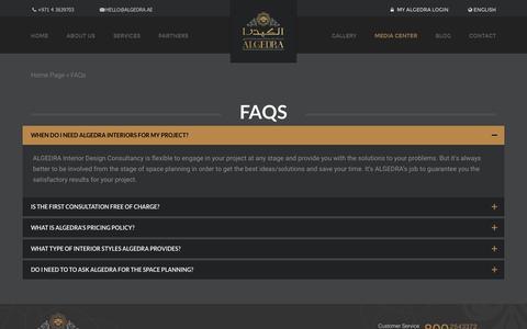 Screenshot of FAQ Page algedra.ae - FAQs | ALGEDRA - captured Sept. 3, 2016