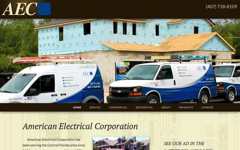 Screenshot of Home Page americanelectricalcorporation.com - American Electrical Corporation | Central Florida's premiere commercial and residential electrical contractor - captured Jan. 27, 2015