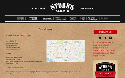 Screenshot of Contact Page Locations Page stubbsaustin.com - Locations - Stubb's BBQ - captured Nov. 25, 2016