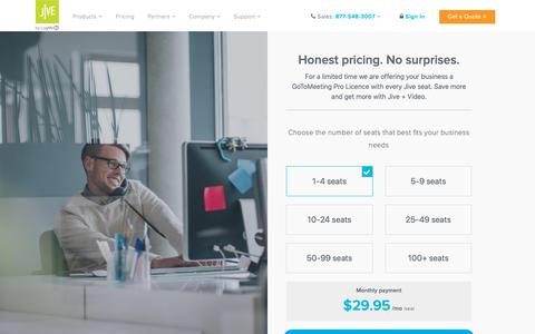 Screenshot of Pricing Page jive.com - Jive Pricing - VoIP Plans for Business with All-Inclusive Features - captured Oct. 30, 2018