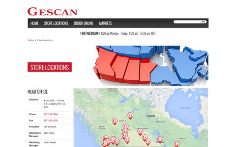 Screenshot of Locations Page gescan.com - Store Locations - captured Sept. 29, 2014