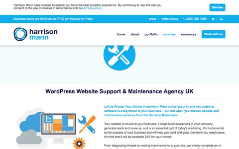 Screenshot of Support Page harrisonmann.co.uk - Wordpress Website Maintenance & Digital Marketing Support | Harrison Mann - captured July 16, 2018