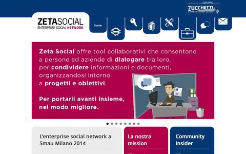 Screenshot of Home Page zetasocial.it - Zetasocial | Enterprise Social Network - captured Oct. 9, 2014