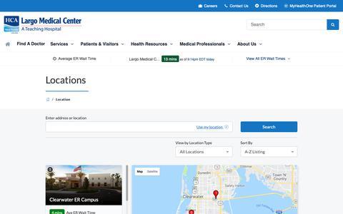 Screenshot of Maps & Directions Page largomedical.com - Locations   Largo Medical Center   Largo, FL - captured Sept. 27, 2018