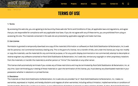 Screenshot of Terms Page rocksolidstabilization.com - Terms of Use | Rock Solid Stabilization & Reclamation - captured Dec. 1, 2016